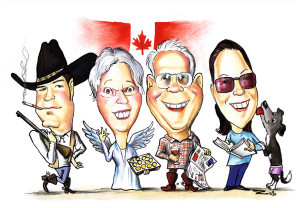 caricature of family