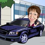 lady in car retirement gift art