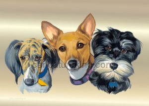 3 dogs caricature
