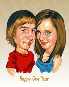 happy couople in love caricature