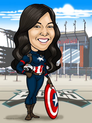 captain america woman caricature