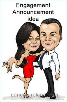 engangement announcement idea caricature