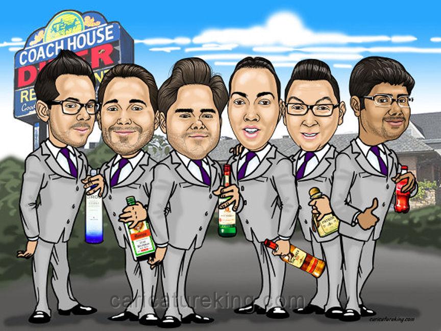 groomsmen gift caricature