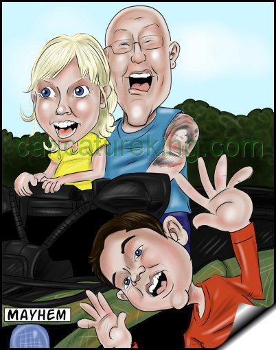 mayhen family caricature