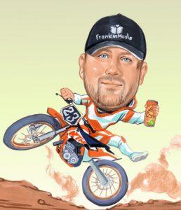 cartoon of motorbike rider