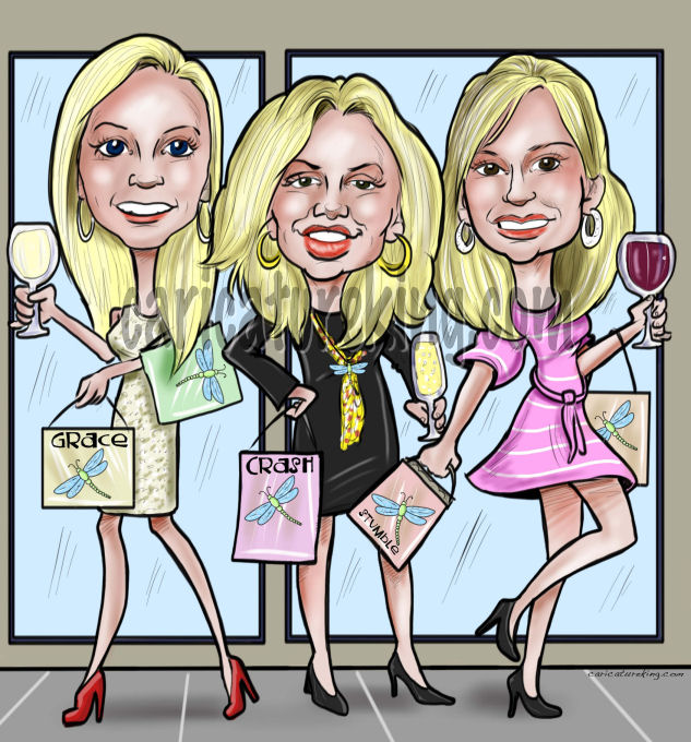 shopping-girls-caricature