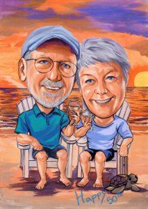 retiremetn couple caricature